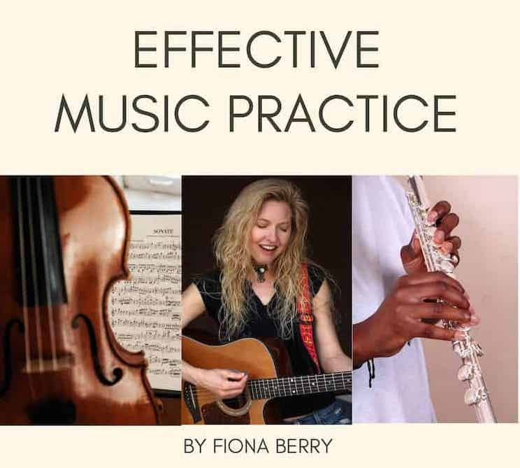 An image that says effective music practice with a cello, girl playing guitar and a flautist.