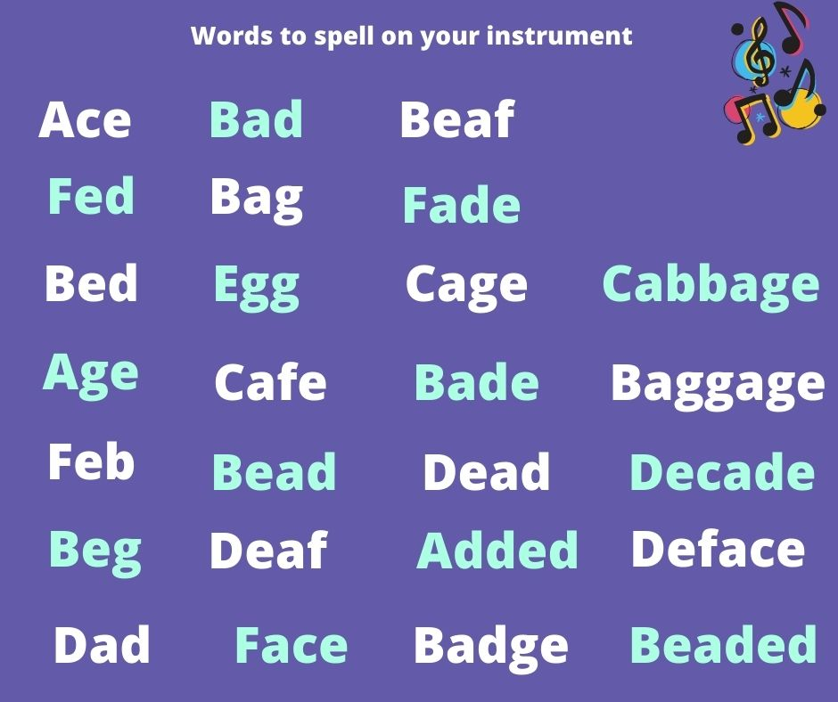 An image of sight reading words list. The words using only A-G in the alphabet.